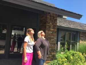 Office girls watching the eclipse!